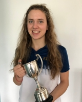 Phoebe Moore with the Rob Bird Cup